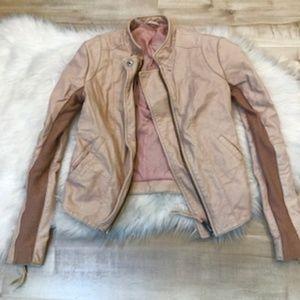 Free People size 0 Crop Vegan Leather Rose Jacket
